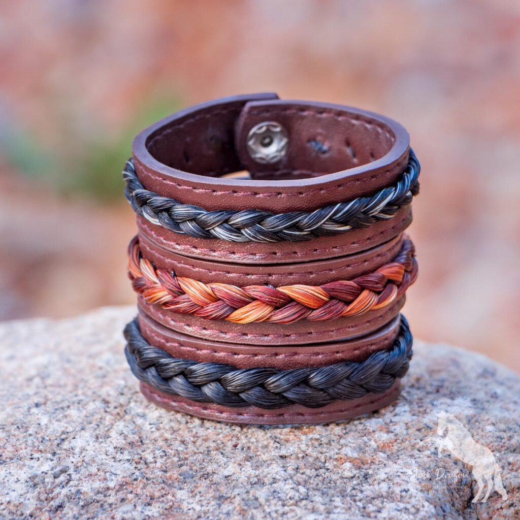 Chocolate Brown Leather Horsehair Bracelets