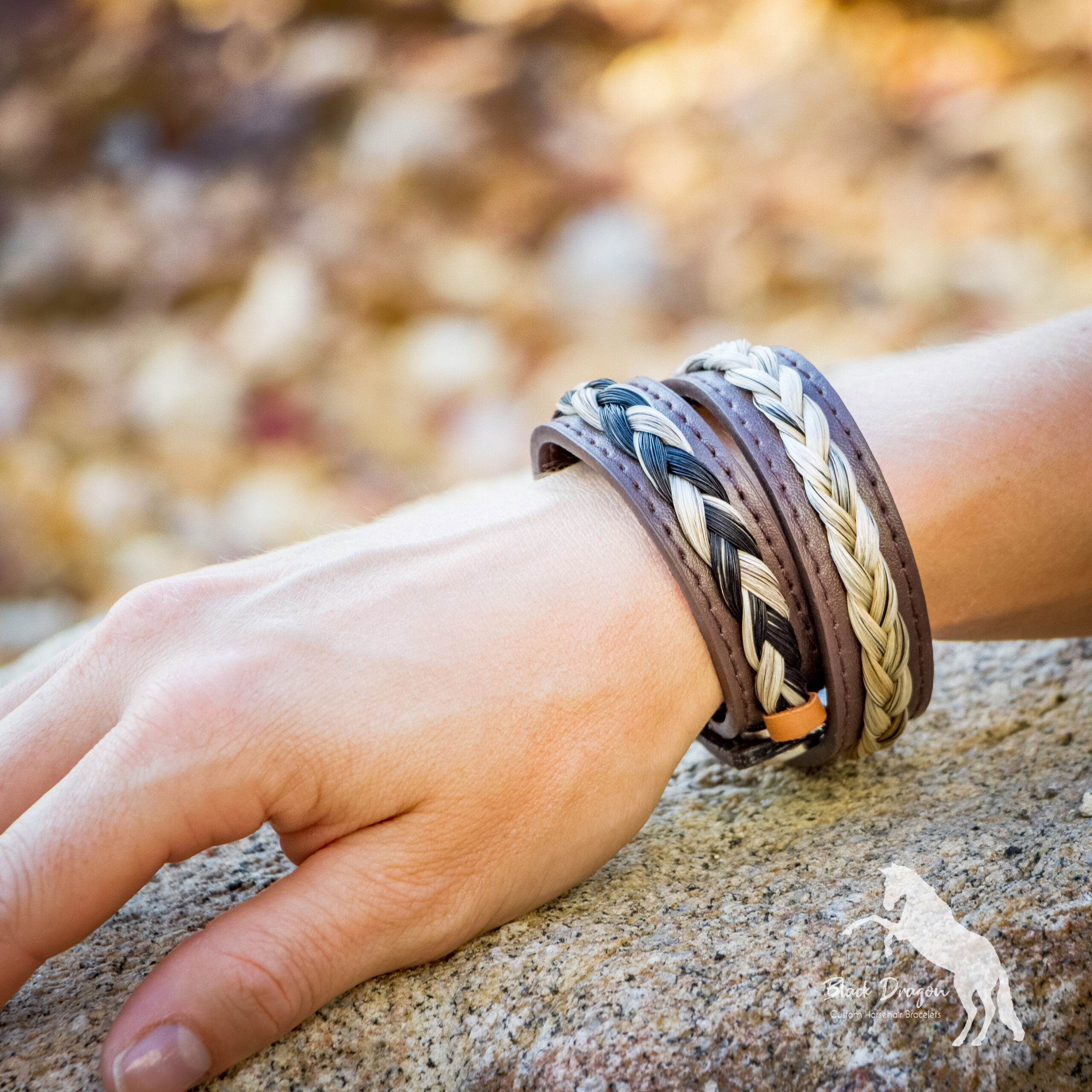 Chocolate Brown Leather Horsehair Bracelets on wrist
