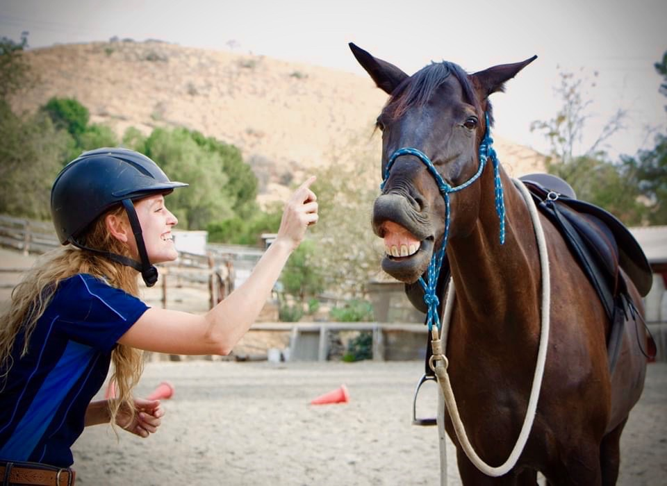 Jillian and her horse Cyd smiling