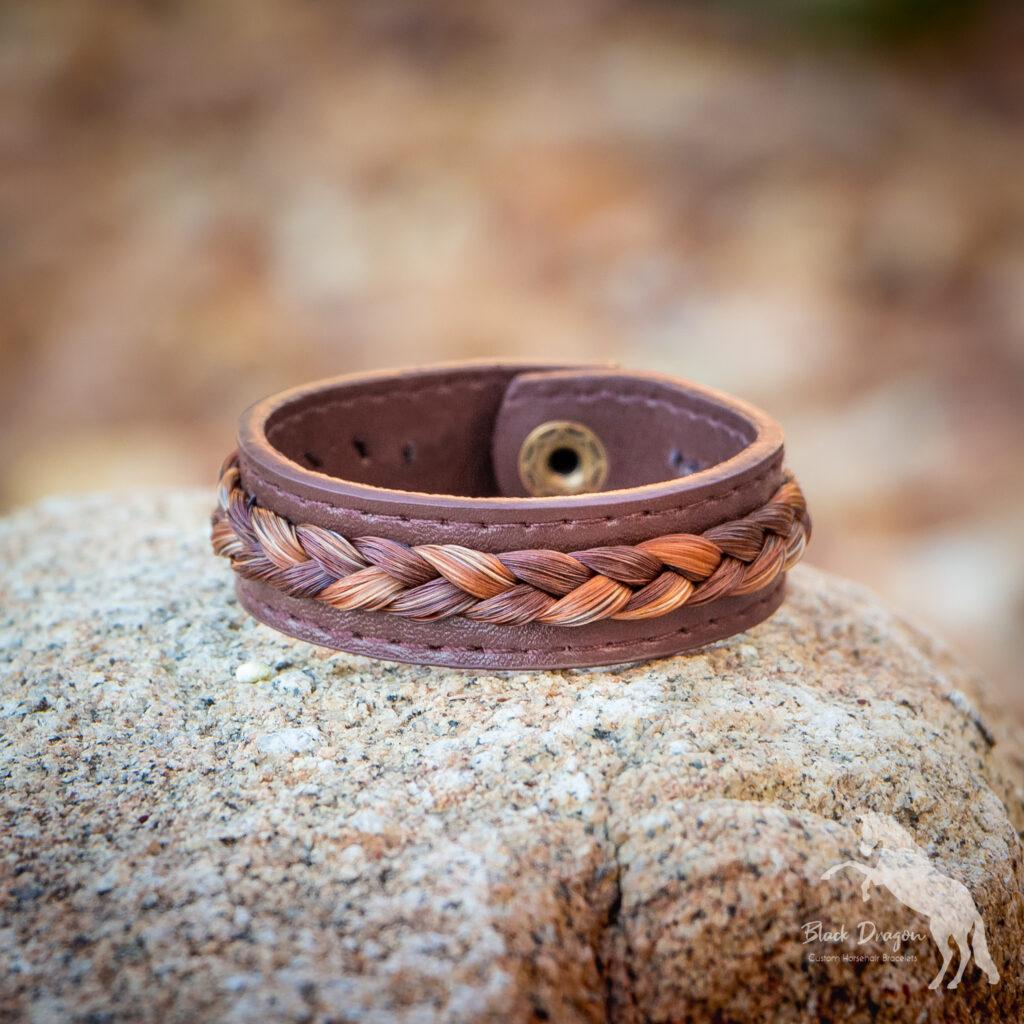 Chocolate Brown Leather Horsehair Bracelet