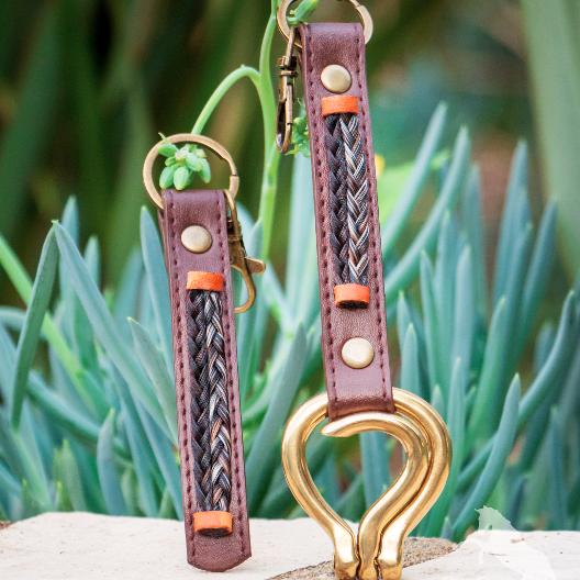 Chocolate Brown Leather Horsehair Clip On Folding Hoof Pick and Keychain Custom Horsehair Keepsakes