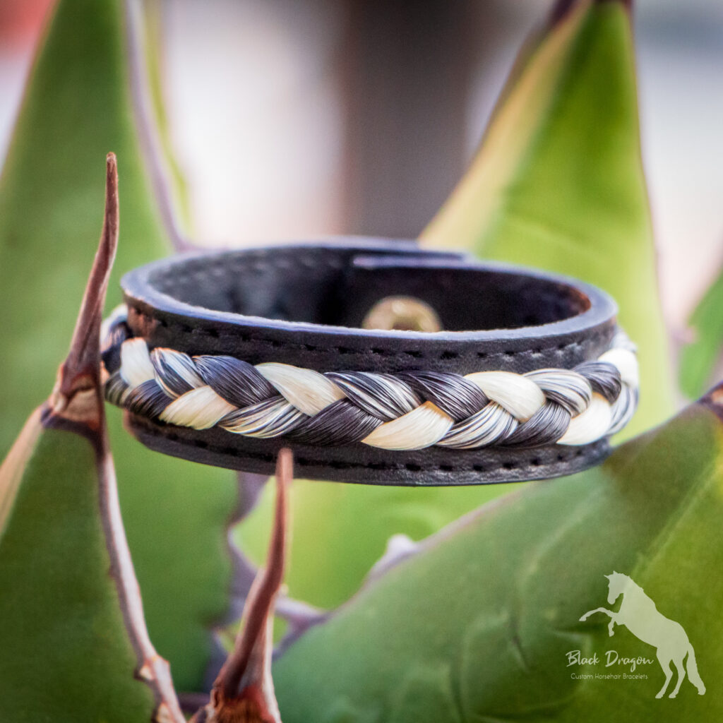 Black Vegan Leather Horsehair Bracelet