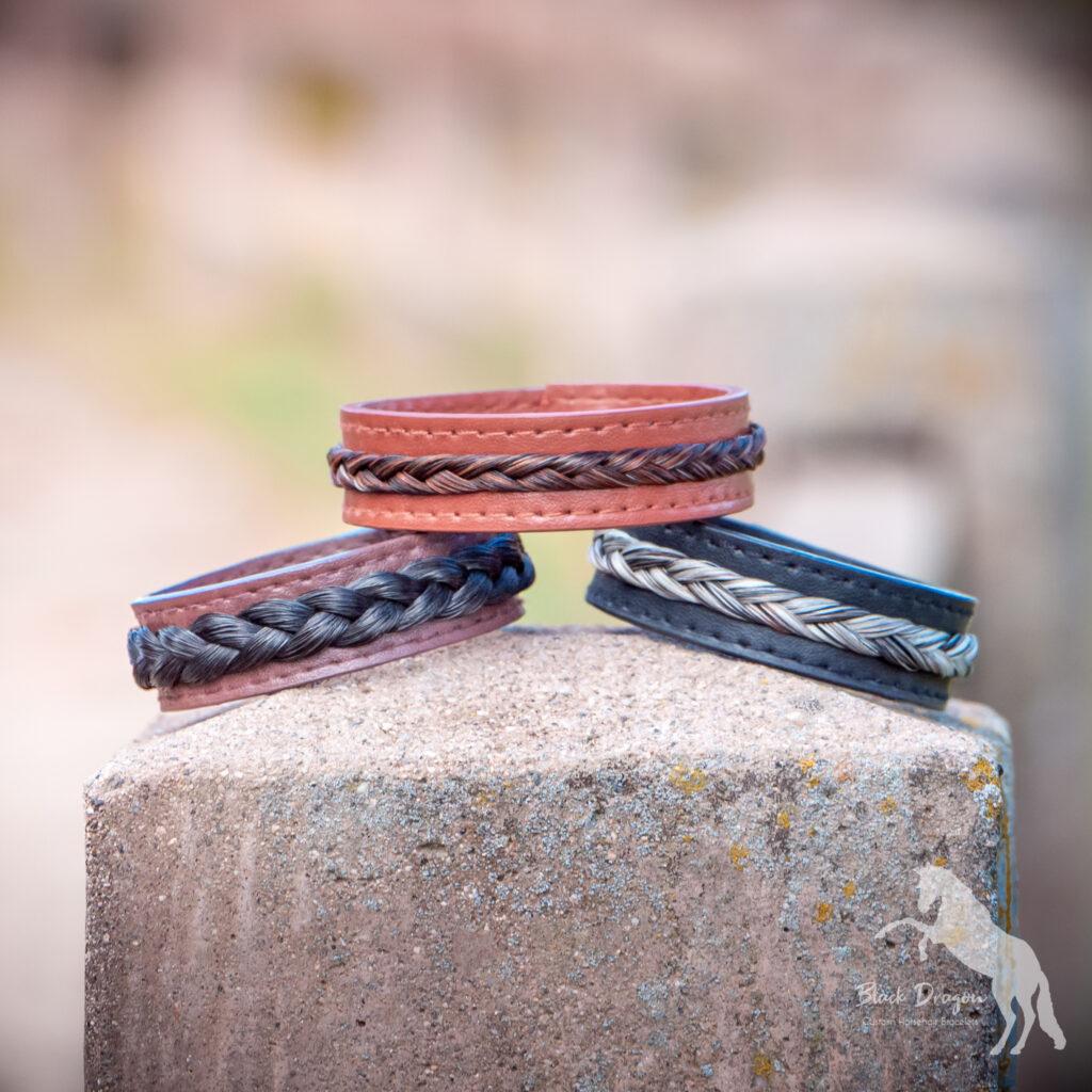Custom Leather Horsehair Bracelets