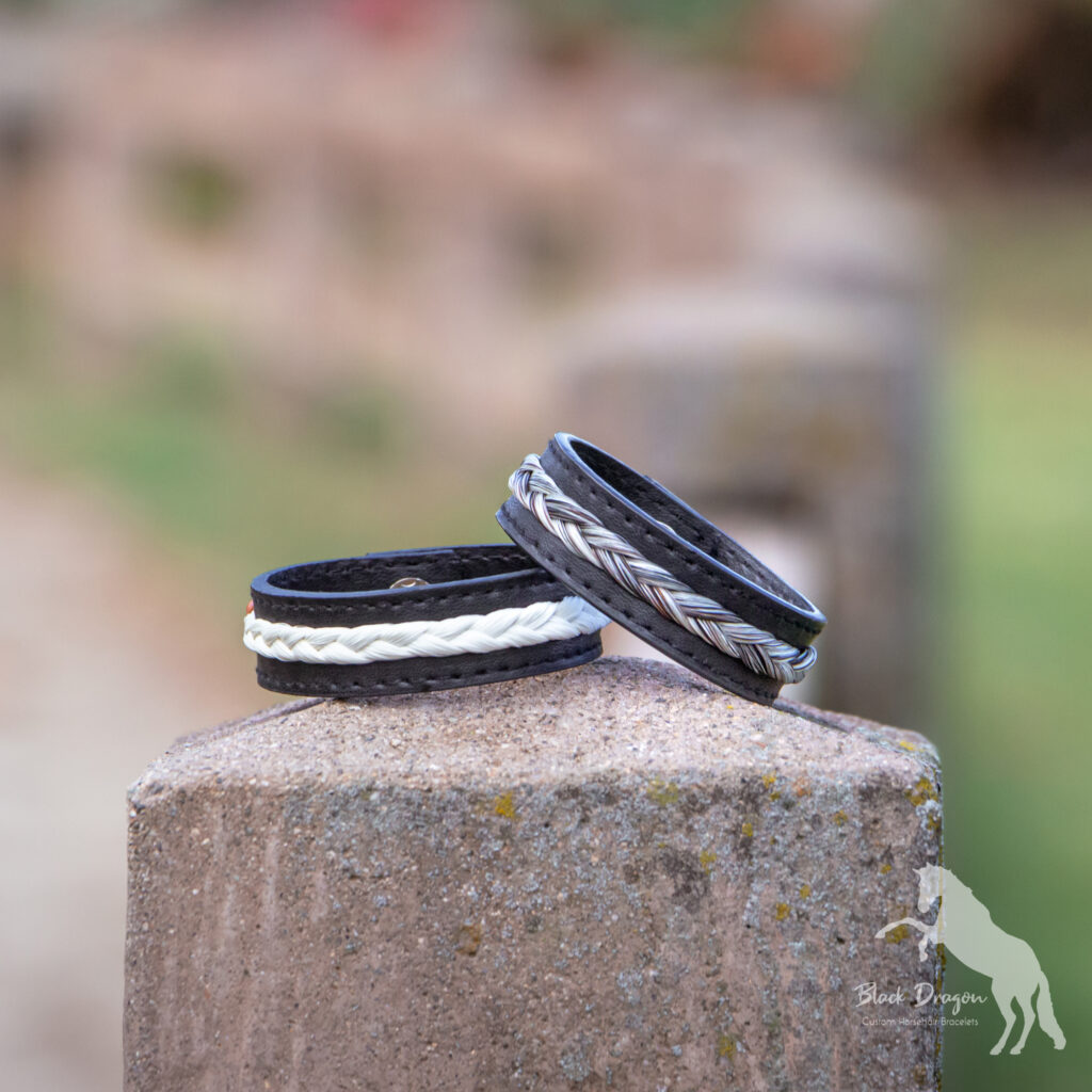 Black leather horsehair bracelet