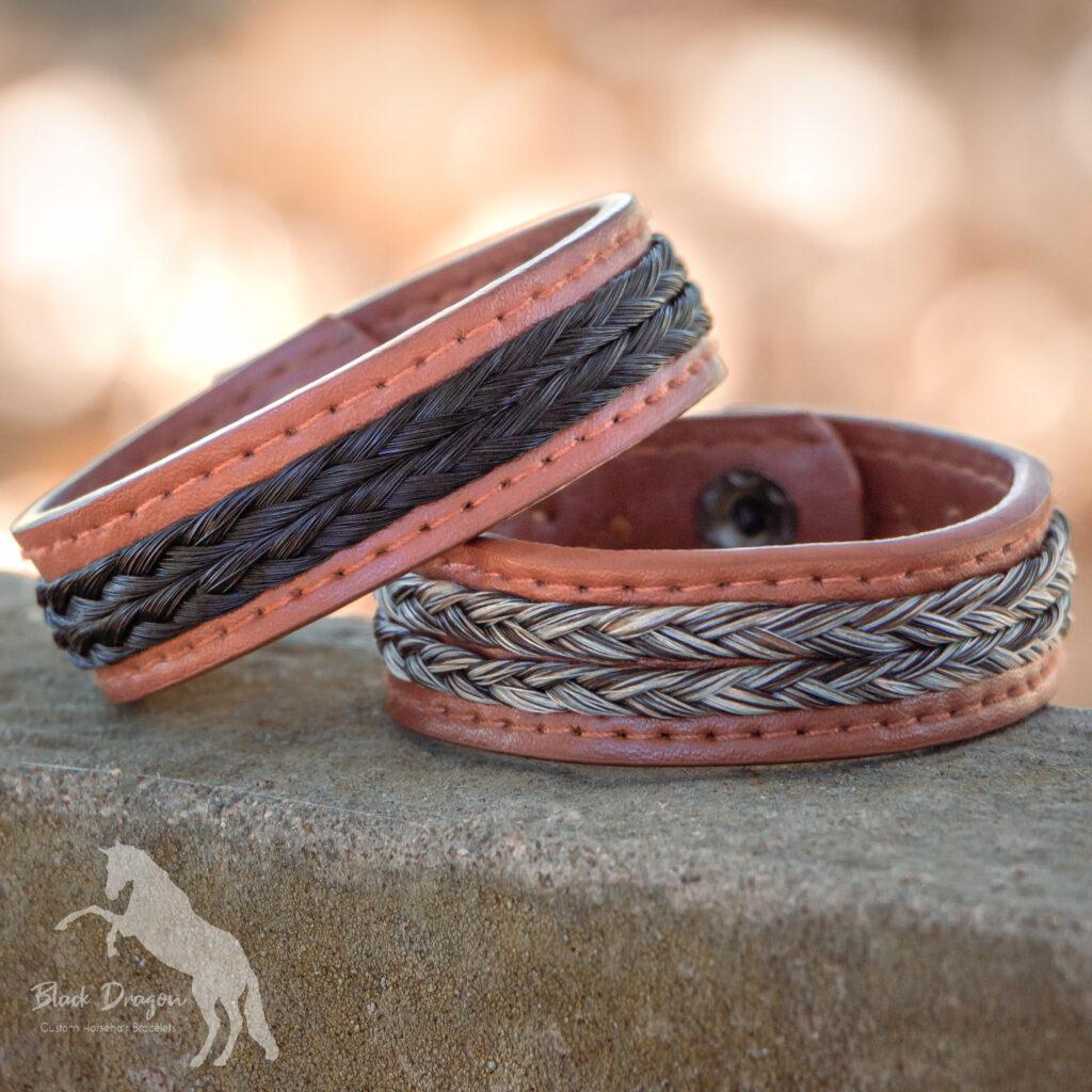 Two cognac leather horsehair bracelets
